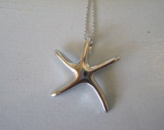 Silver Large Starfish Necklace - Plain Silver Starfish Necklace - Solid Starfish - Starfish Jewelry - Beach Jewelry