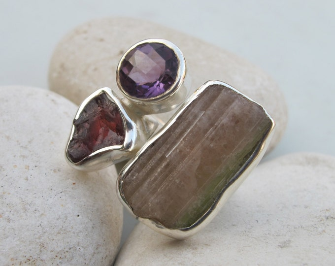 Statement Triple Ring- Unique Bold Ring- Colorful Multistone Ring- Garnet Tourmaline Amethyst Ring- January October February Ring