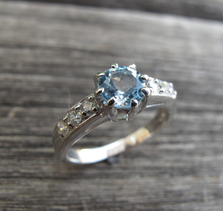 blue topaz engagement ring blue gemstone promise ring. Black Bedroom Furniture Sets. Home Design Ideas