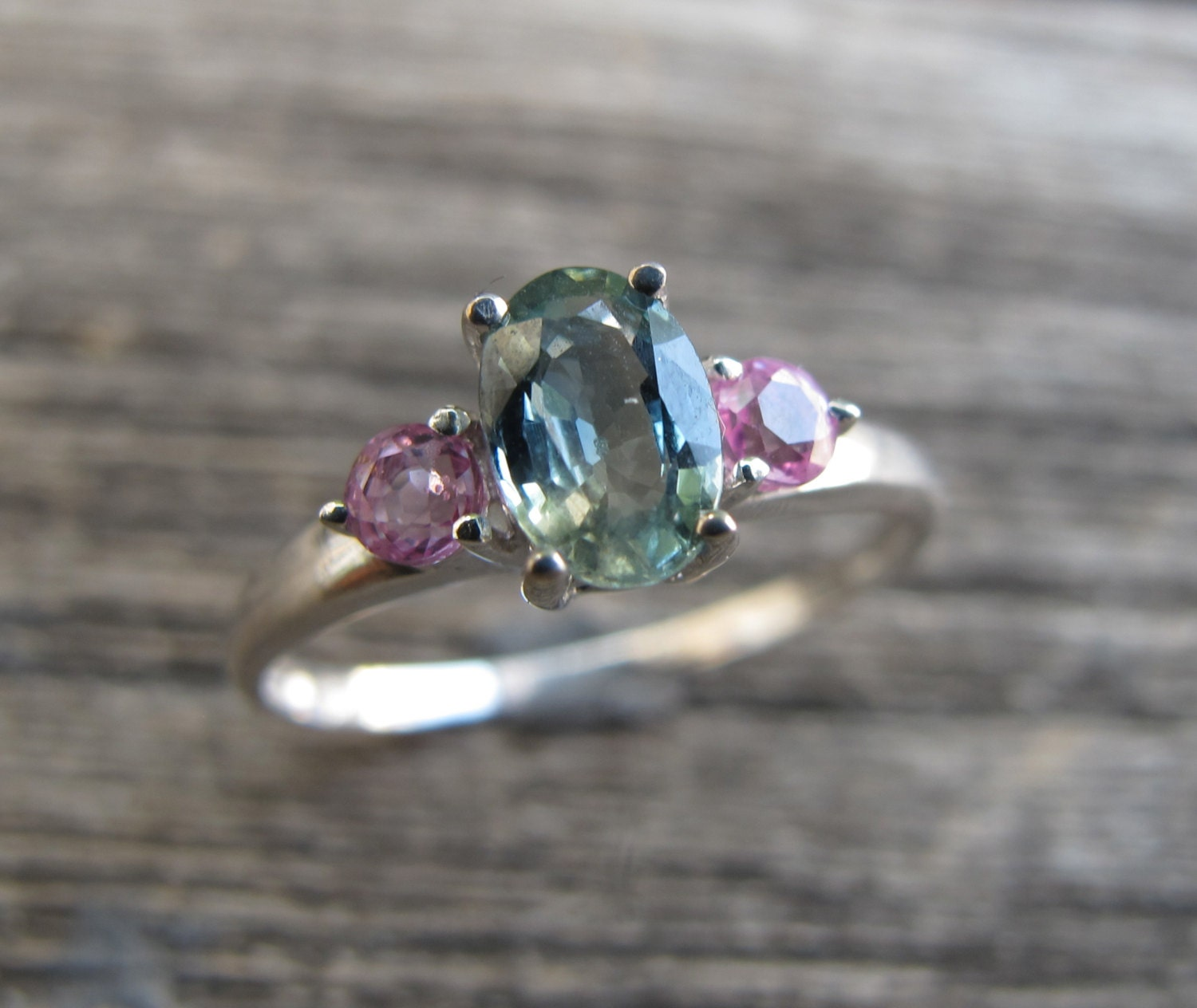 Three Stone Engagement Ring Sapphire Promise Ring for Her