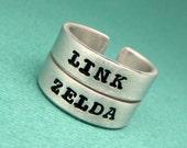 Zelda Inspired - Link & Zelda - A Set of 2 Hand Stamped Aluminum Rings