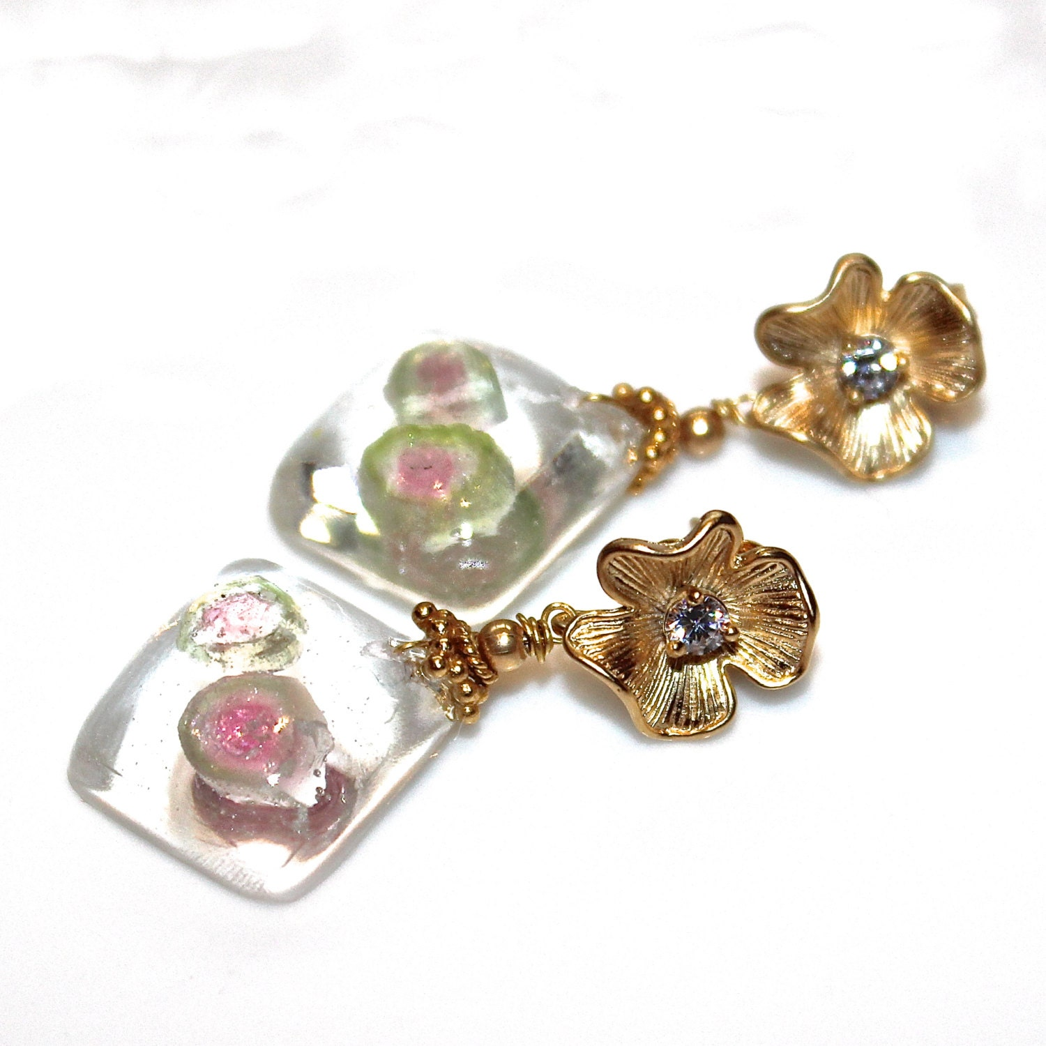 watermelon tourmaline slice earrings resin jewelry resin