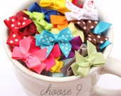 Infant Hair Bow, Newborn Snap Clip, Toddler Hairbow - Choose 9 from 35 Colors