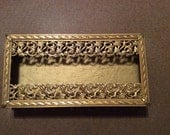 VINTAGE Brass Filigree Collectible Tissue Box or Tissue Holder from 1960's