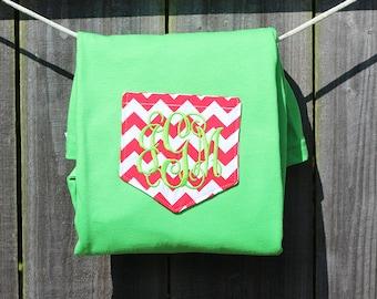 Lime Green and Red Chevron Monogrammed Long Sleeve Pocket T-shirt- Women's-Christmas- holidaysgraduation-bridesmaids gift