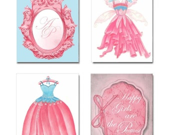 Baby Girl Nursery, Pink & Aqua, Princess Fairy, Nursery Prints, SET OF 4 Art Prints, Girls room Decor, Nursery Wall Art, Initials Name Art