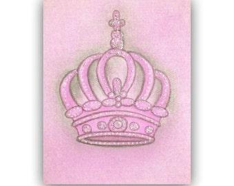 Princess Crown, Pink Nursery Decor, Nursery Prints, Kids Wall Art,  Girl Nursery Decor, Nursery Wall Art,  Pink Crown, Princess Decor