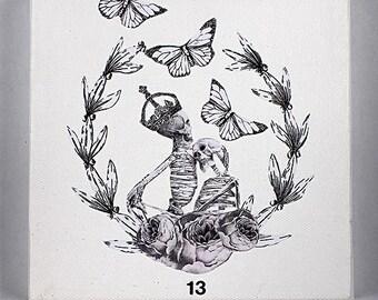 Original Tarot Death Card Collage on Canvas