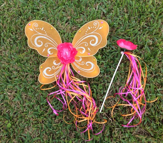 Orange Pink Fairy Wings,Orange Pink Fairy Wand,  Fairy Halo, Wings,  Princess Wings, Princess Party Favors Wings, Fairy Costume Wings