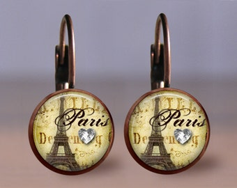 Earrings Jewelry - 12mm Paris 2 - Choice of Finish & Style - Post or Leverback - Silver Bronze Gunmetal Copper - Paris Jewelry Studs Dangle