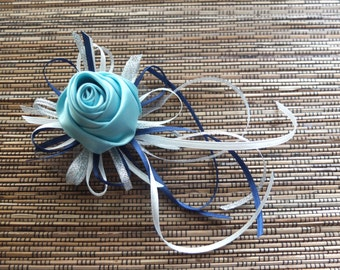 Turquoise Boutonniere, Turquoise Satin Rose Boutonniere,  accented with navy and white ribbons