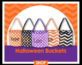 Personalized Halloween Bag, Halloween Trick or Treat Bucket Tote, Trick or Treat Bag, Candy Bag, Halloween Tote, Candy Bucket
