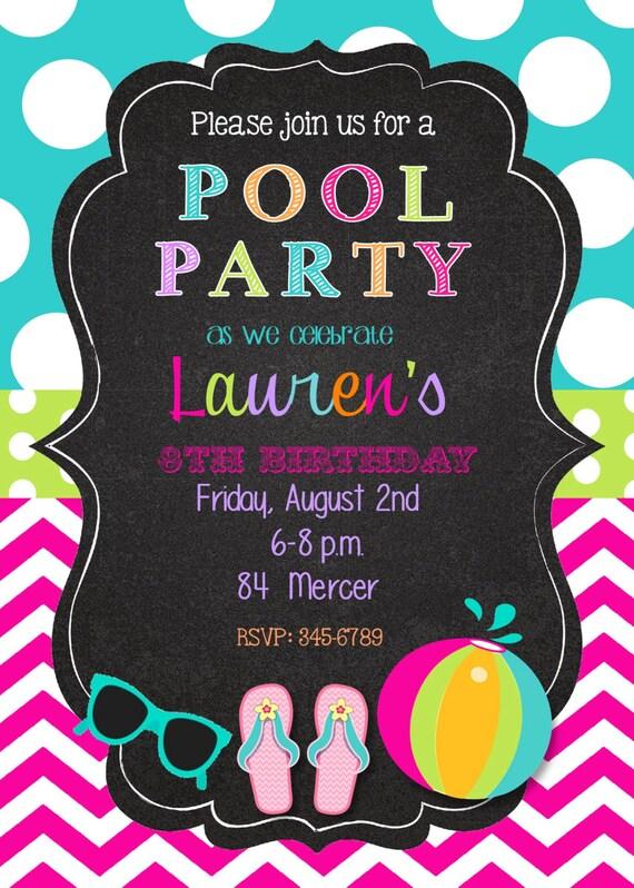 Birthday Invitation Pool Party with good invitations sample