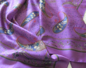 Vintage Purple Paisley Square Scarf Lavender, Violet, Green 1970