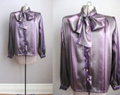 Purple Satin Blouse Striped Bow Collar Long Sleeve 1980s Vintage Top / Large