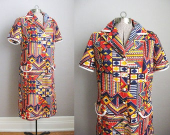 1960s Dress Aztec Print Short Sleeve Mod White Red Orange Navy Blue / Large XL