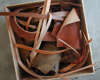 Leather Scraps // Medium Flat Rate Box Scraps // Priority Shipping