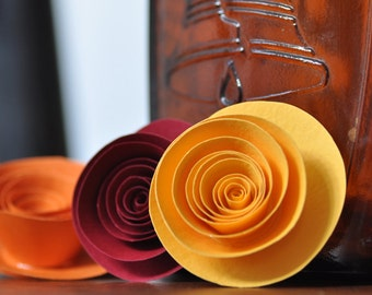 Paper Flowers- Yellow, Orange and burgundy paper flowers
