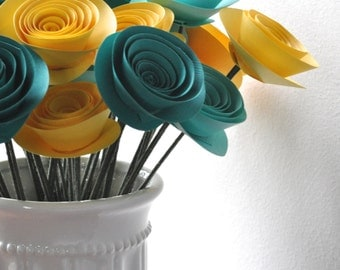 30 Yellow and Teal Paper Flowers on Stems- Bouquet of Paper Flowers- Yellow Home Decor