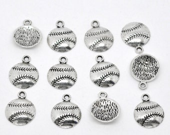 10 Pieces Antique Silver Baseball / Softball Charms