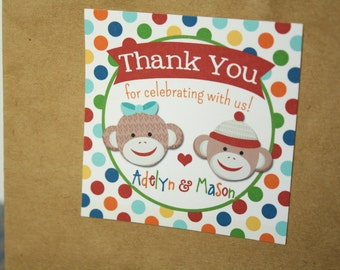 Multicolor Sock Monkey Favors OR Stickers - Set of 12