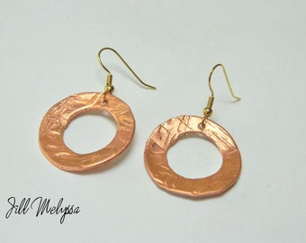 Round Circle Copper Hammered Domed Earrings; Handmade womens jewelry; hoop; metalwork