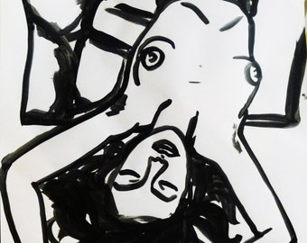 Dessin original, original artwork, illustration sexy girl fille nue sur papier/paper 70x50