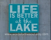 Life is Better at the LAKE Lake House Cabin Farm Inspirational Subway Typography Art  Wooden Sign