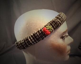 Ladies Black & White Gingham Headband w/ cherries