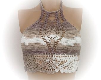 Brown/Beige/Cream Crochet top -one strawberry-Summer-Crochet Hippie Fringe Halter Top-tank top-Tender top