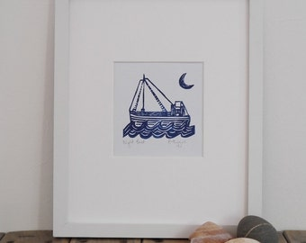 Night boat lino print