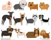 Dogs and Friends clip art part 2 for Personal and Commercial use - INSTANT DOWNLOAD