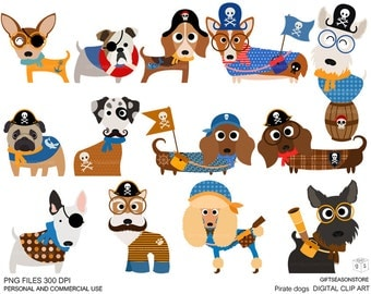 Pirate dogs Digital clip art for Personal and Commercial use - INSTANT DOWNLOAD