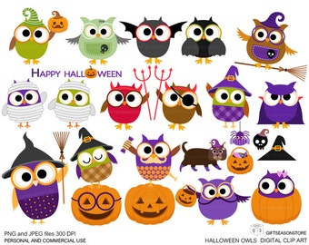 Halloween owls digital clip art  for Personal and Commercial use - INSTANT DOWNLOAD