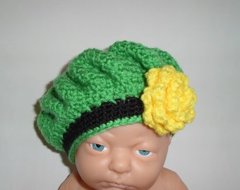 Ready to Ship (0-3 mo) St. Patrick's Day Hat, Baby Girls Irish Beret, Infant Flower Hat, St. Patty's Day Photo Prop