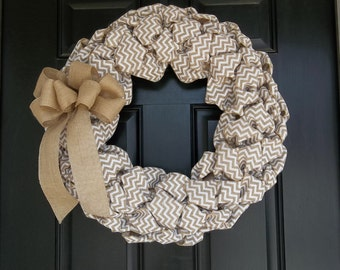 "Large 22""  Natural and White  Chevron Burlap Wreath, door wreath, wall decor"