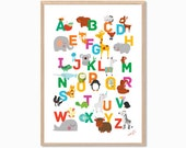 ABC Animal Chart Poster : Modern Animal Illustration Retro Art Wall Decor Print