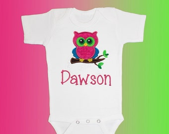 Baby Shirt Bodysuit - Personalized Applique - Pink Owl - Embroidered Short or Long Sleeved