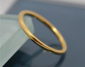 24k  SOLID Yellow Gold Full Round Wedding Ring Stacking Band