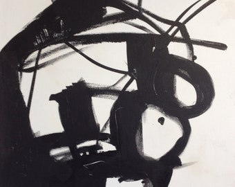 """24""""x30""""x2"""" a study on Kline, Abstract Black and White Painting"""