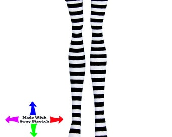 Monster High Doll Stockings - B&W Micro Stripe - Doll Clothes- All Sizes