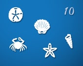 Beach Charms - Set of 10 paper charms...Approx. 3/4 in ( 2cm )