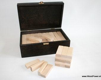 Wedding Guest Book Alternative / Wedding Block Tower / Wooden Blocks (Set of 100 Blocks in Dark Brown Wooden Box) / Personalized Box