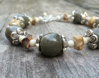 Memorial Bead Bracelet - Custom Keepsake Stoneware Pottery Pet Cremains Jewelry - COCONUT BEACH Beaded Bracelet