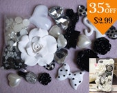 1set White crystal pearl flowers Mixed material kit for phone case deco