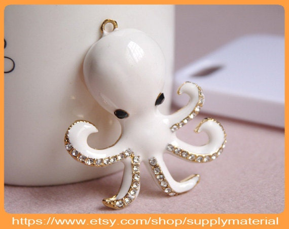 1PCS Bling Crystal Rhinestone White Octopus flatback Alloy jewelry For Phone case deco