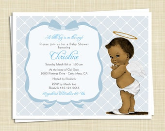 10 Baby Shower Invitations - African American - Baby Boy - Vintage - Shabby Chic - PRINTED