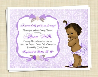 African American Baby Shower Invitations - Damask - set of 10 - PRINTED