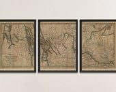 Old Lewis and Clark Map Art Print 1814 Antique Map Archival Reproduction, Set of 3 Prints
