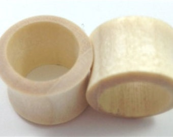 Pair of Blonde Crocodile Tunnel Wood Plugs